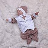 Летний комплект для новорожденного мальчика на выписку Ангел+Крис, белый с кофейным, фото 4