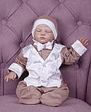 Летний комплект для новорожденного мальчика на выписку Ангел+Крис, белый с кофейным, фото 5