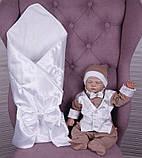 Летний комплект для новорожденного мальчика на выписку Ангел+Крис, белый с кофейным, фото 7