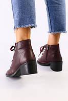 Женские бордовые кожаные ботинки, фото 1