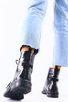 Женские демисезонные черные ботинки кожа наплак