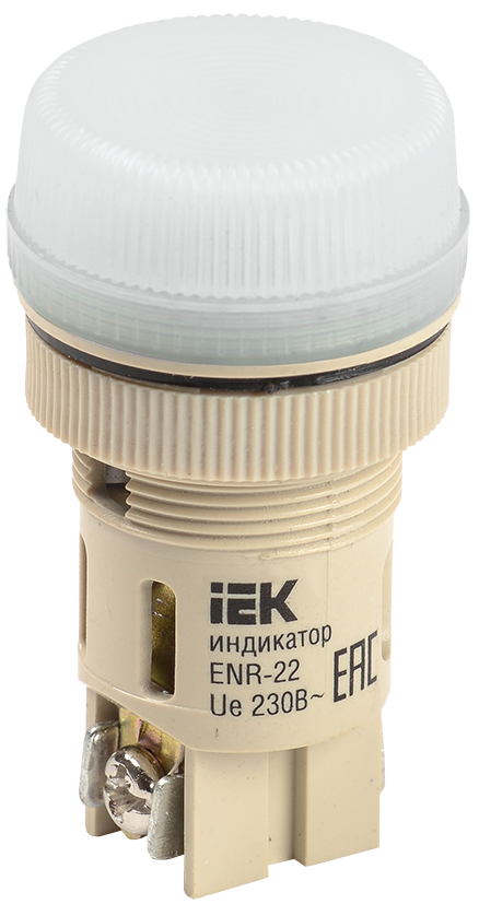 Лампа ENR-22 сигнальная d22мм белый неон/240В цилиндр IEK (BLS40-ENR-K01)