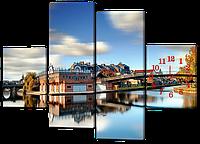 Модульная картина Отражение города в реке 126*93 см Код: W427M