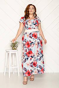 Платье длинное летнее с цветочным принтом 50-56 р