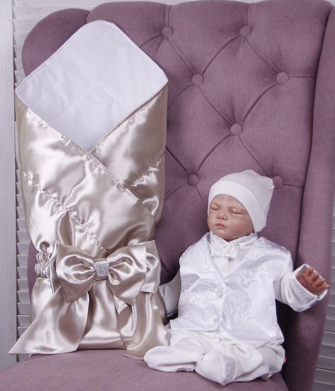 Летний комплект для новорожденного мальчика на выписку Ангел+Крис, золотой с молочным