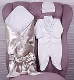 Летний комплект для новорожденного мальчика на выписку Ангел+Крис, золотой с молочным, фото 6