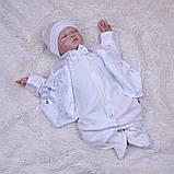 Летний комплект для новорожденного мальчика на выписку Ангел+Крис, золотой с молочным, фото 5