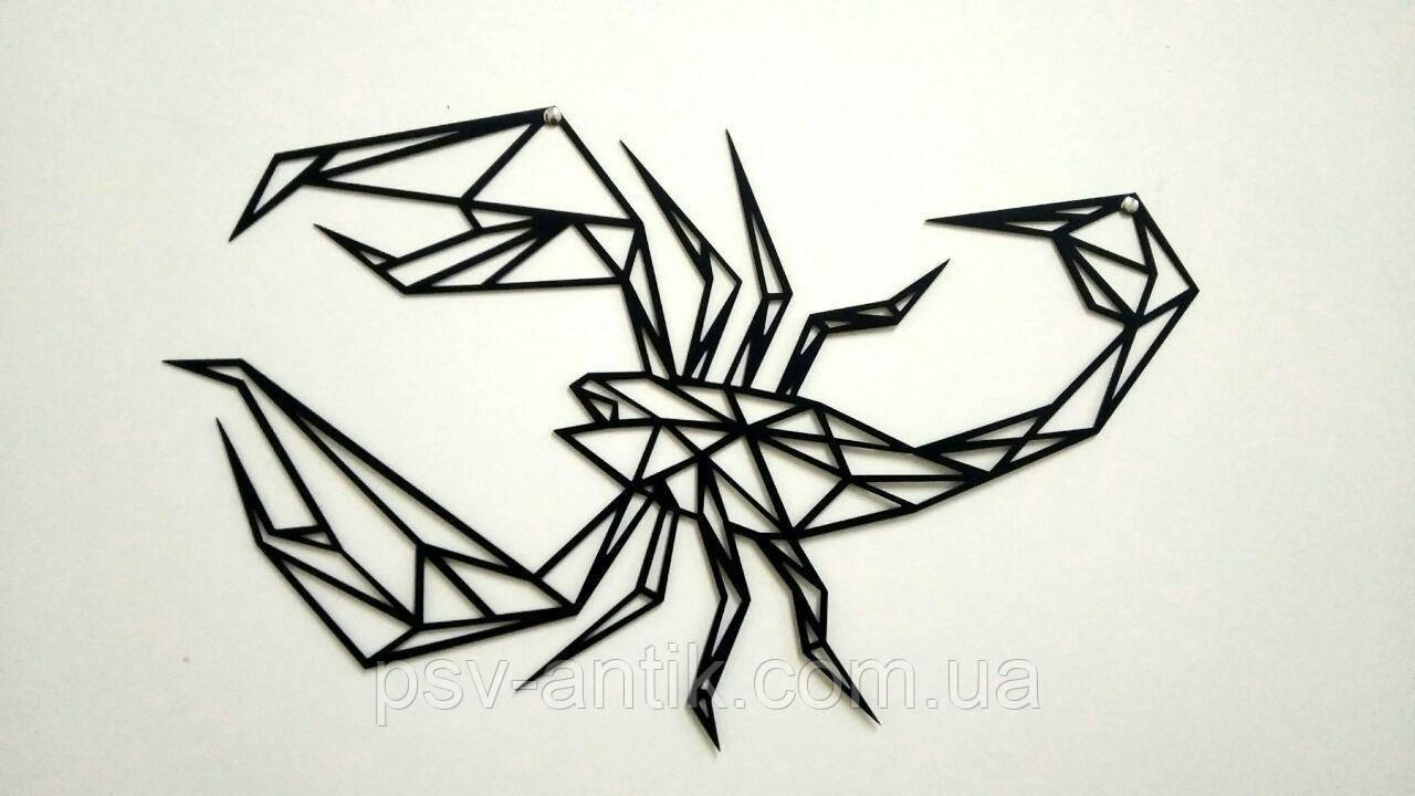 Настенное пано Скорпион. Металлический декор в стиле лофт.