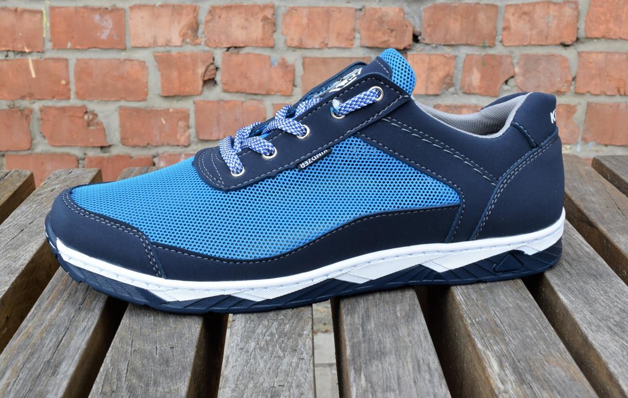 Кросівки чоловічі літні комфорт блакитна сітка