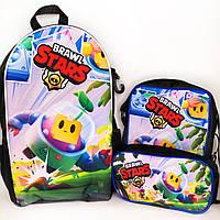 Набор: рюкзак, сумка и пенал Спраут Бравл старс. Брелок - В ПОДАРОК!
