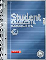 Тетрадь колледж-блок Brunnen А4 на спирали в линейку 80 листов 90 г/м2 обложка синий металлик