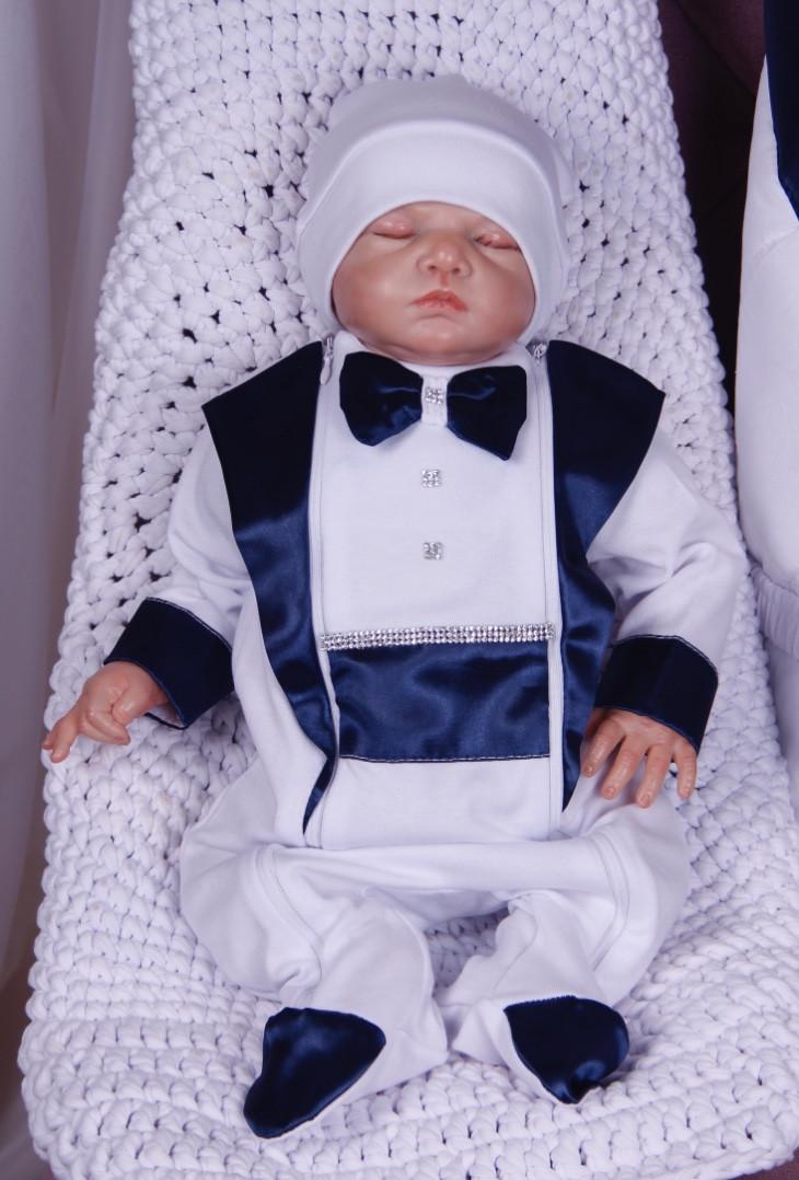 Нарядный комплект для новорожденного мальчика Фрак New белый/синий