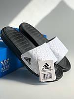 Пляжные шлепанцы шлепки мужские купить Adidas Black&White адидас черно-белый Киев