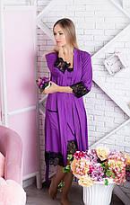 Комплект ночная рубашка + халат К918н Фиолетовый, фото 2