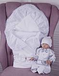 """Летний комплект для новорожденных на выписку """"Волшебство + Фрак New"""" белый с серым, фото 4"""