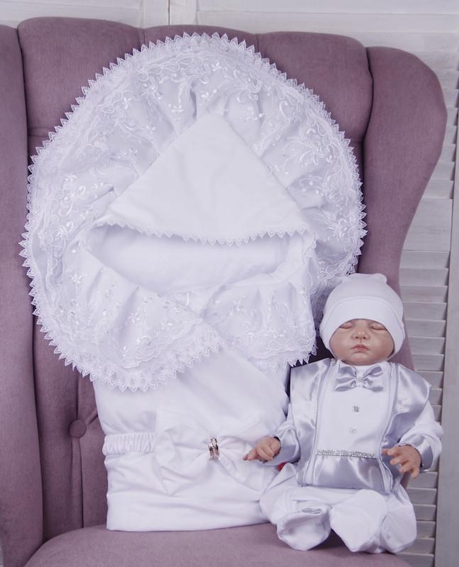 """Летний комплект для новорожденных на выписку """"Волшебство + Фрак New"""" белый с серым"""