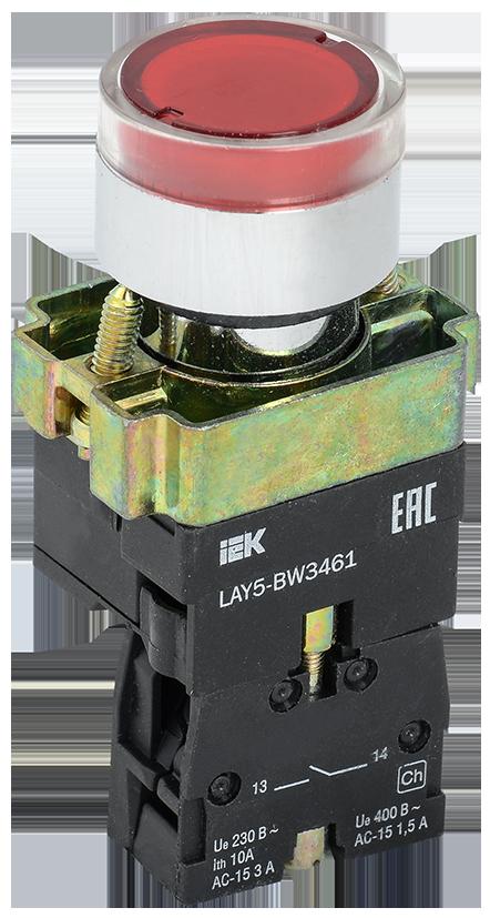 Кнопка управления LAY5-BW3461 с подсветкой красный 1з IEK (BBT50-BW-K04)
