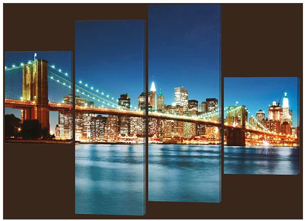 Модульная картина на коже Мост ночные огни 126*93 см Код: W200