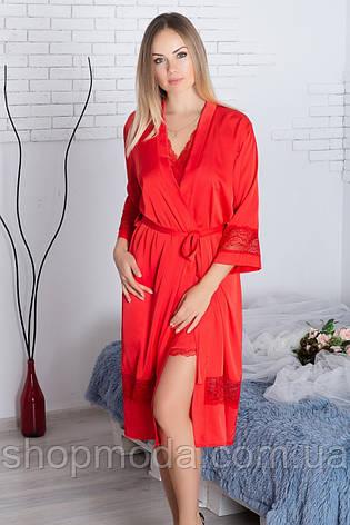 Халат шелковый Х904 110 см Красный, фото 2