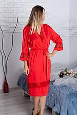 Халат шелковый Х904 110 см Красный, фото 3