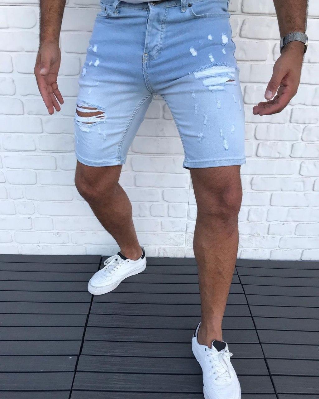 Мужские джинсовые шорты V0125 голубые