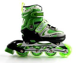 Ролики Happy Light green, размер 38-42 раздвижные, 4-х колесные, Зеленый цвет