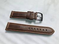 Ремешок для часов размер 22 мм ручной работы из итальянской натуральной кожи коричневый, прошитый, мягкий