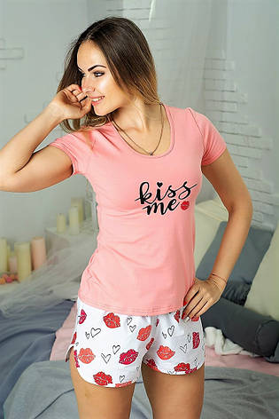 Пижама женская Футболка и шорты Хлопок Персиковый, фото 2