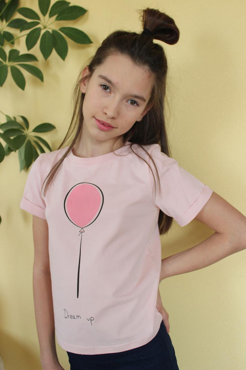 Футболка детская №F5201 для девочки (8-13 лет), хлопок с принтом. Оптом
