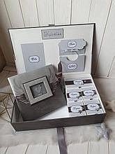 """Шкатулка для новорожденного мальчика с альбомом и коробочками для памятных вещей """"Мамины сокровища"""""""