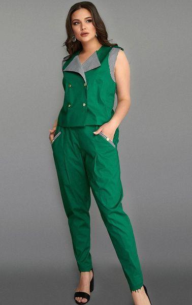 Стильный женский летний брючный костюм в деловом стиле размеры 50-56 зеленый
