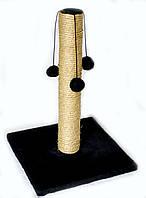 Когтеточка-столбик на квадратной  подставке с меховыми шариками 45х30 см