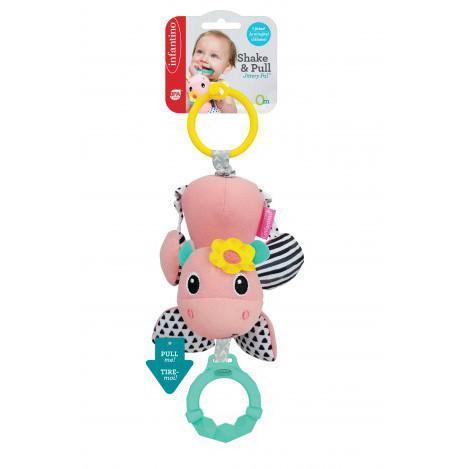 """Навесная игрушка мягкая с прорезывателем для малышей """"Бегемотик"""" Infantino, 10 x 5.5 x 28 см"""