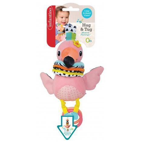 """Детская мягкая музыкальная навесная игрушка для коляски """"Фламинго"""" Infantino, 9 x 10.5 x 29 см"""