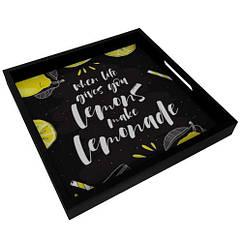 Деревянный поднос 33х33х4см When life gives you lemons make lemonade