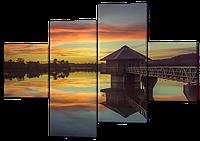 Модульная картина Дом и озеро 160*114 см Код: W253