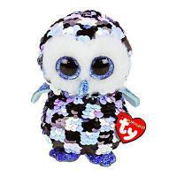 """Плюшевая мягкая детская игрушка c пайетками Голубая сова """"Topper"""" TY Flippables, 15 см"""