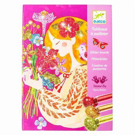 """DJECO Художественный комплект рисование блестками """"Аромат цветов"""""""