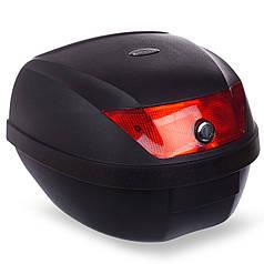 Мотосумка (1 кофр) центральный MS-1244 (PL, пластик, р-р см, черный-красный)
