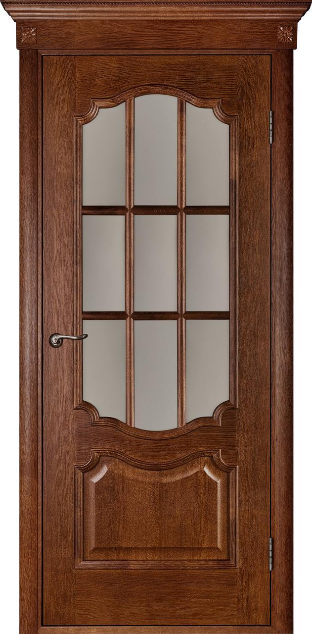 Межкомнатная дверь Престиж темный орех ПО (с решеткой)