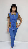 Женский костюм Лиза 44 размер рубашечная ткань короткий рукав