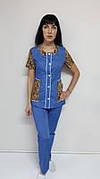 Жіночий костюм Ліза 44 розмір сорочкова тканина короткий рукав