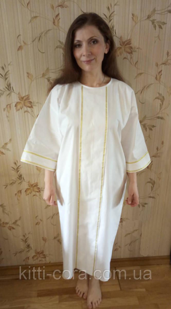 """Крестильная рубашка для взрослых. Модель """"Stella Gold"""" (""""Стелла золото"""")"""