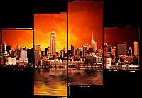Модульная картина Город и красный закат 166*114 см Код:W242