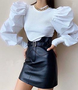 Стильная кожаная черная мини юбка завышенная талия, с поясом
