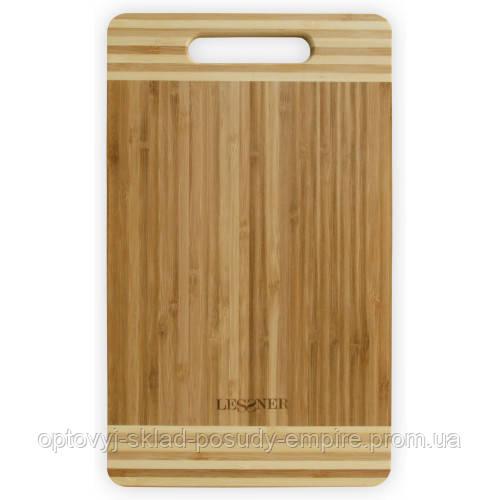 Доска кухонная прямоугольная бамбуковая Lessner 34х20х2см 10301-34