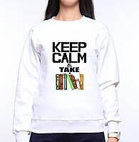 "Женский свитшот с принтом Книги ""Keep Calm & Take a books"" Push IT XS, Белый"