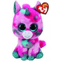 Мягкая детская игрушка Unicorn единорог Beanie Boo's 15 см TY, розовый