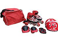Детские ролики раздвежные 29-38 размер со светящимися колесами и набор защиты для мальчика и девочки Красные