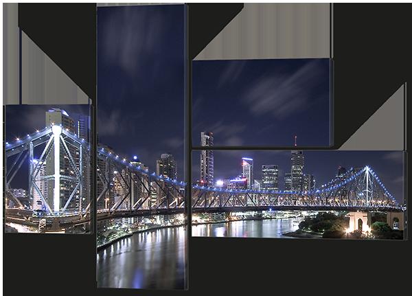 Модульная картина Ночной мост 131x94 см  Код: W589M